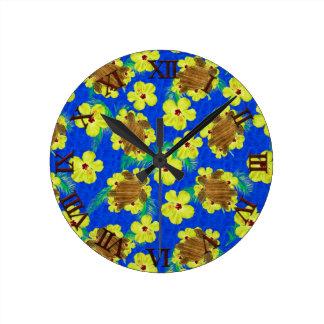Wooden Honu And Hibiscus Flowers Clocks