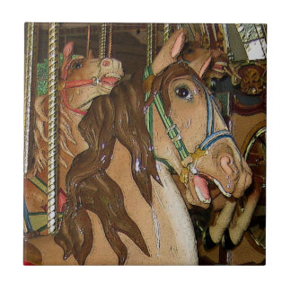 Wooden Horse Small Square Tile