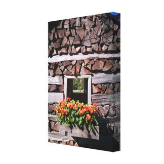 Wooden house exterior design canvas print