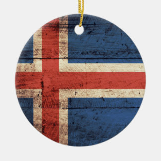 Wooden Iceland Flag Christmas Ornament