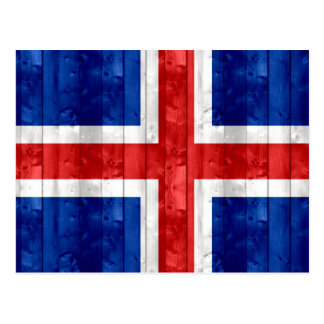 Wooden Icelander Flag Post Card