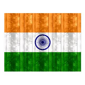Wooden Indian Flag Postcard