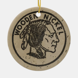 Wooden Indian Head Nickle, add text Christmas Ornament