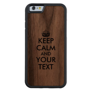 Wooden iphone Case Keep Calm and Your Text Custom