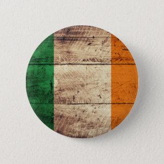 Wooden Ireland Flag 6 Cm Round Badge