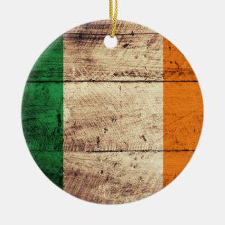 Wooden Ireland Flag Christmas Ornament