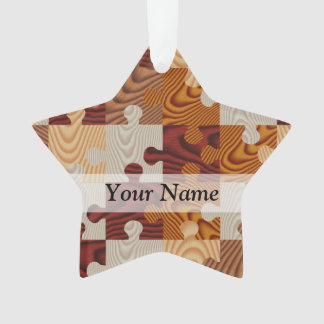 Wooden jigsaw puzzle ornament