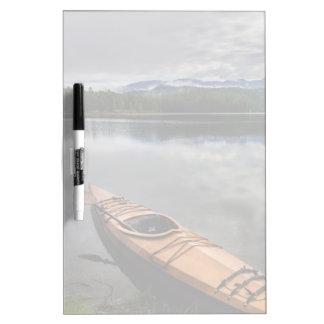 Wooden kayak on shore of Beaver Lake Dry Erase Whiteboards