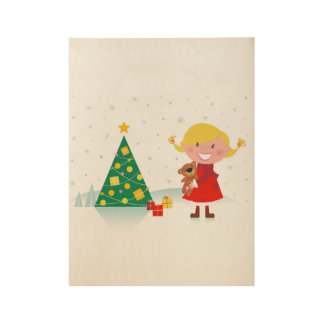 Wooden kids poster with xmas girl