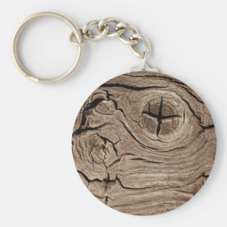 Wooden Knots Faux Texture Key Ring