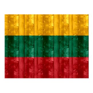 Wooden Lithuanian Flag Postcard