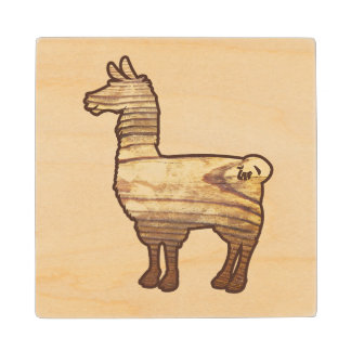 Wooden Llama Coasters