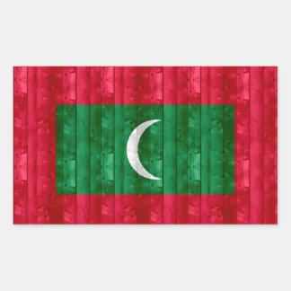 Wooden Maldivan Flag Rectangular Sticker
