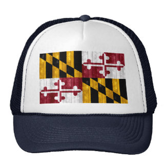 Wooden Marylander Flag Mesh Hat