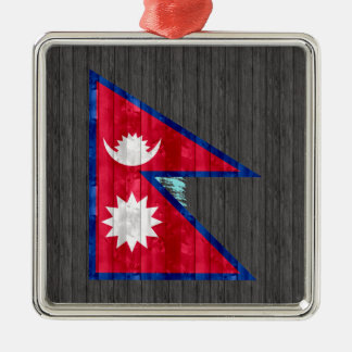 Wooden Nepalese Flag Christmas Tree Ornament