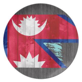 Wooden Nepalese Flag Dinner Plate