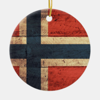 Wooden Norway Flag Round Ceramic Decoration