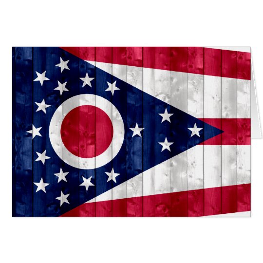 Wooden Ohioan Flag Card