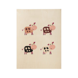 Wooden original poster with Kids cows