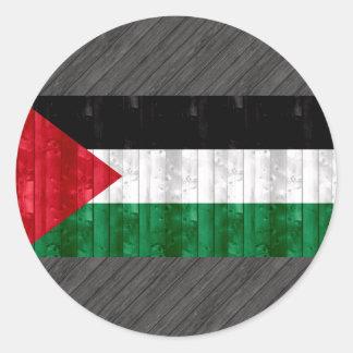 Wooden Palestinian Flag Round Sticker