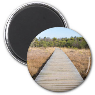 Wooden path in grass and forest winters landscape. 6 cm round magnet