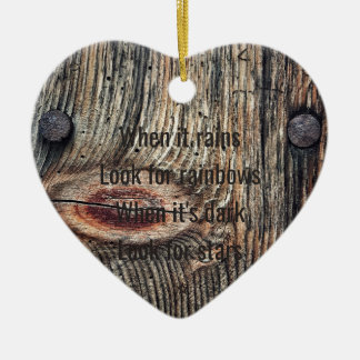 Wooden Photo Quote Dble-sided Heart Ornanent Christmas Ornament