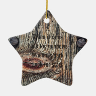 Wooden Photo Quote Dble-sided Star Christmas Ornament