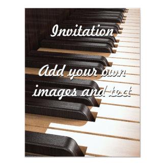 Wooden Piano Keys 2 4.25x5.5 Paper Invitation Card