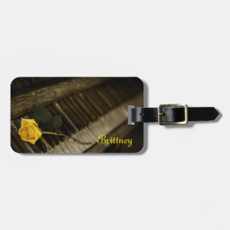 Wooden Piano with Yellow Rose Luggage Tag
