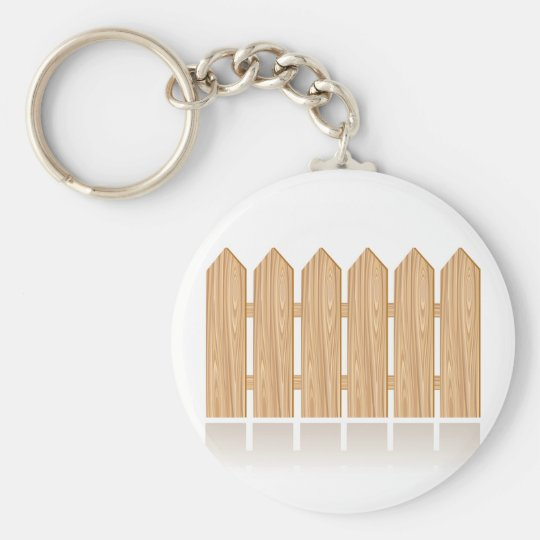 Wooden Picket Fence Basic Round Button Key Ring