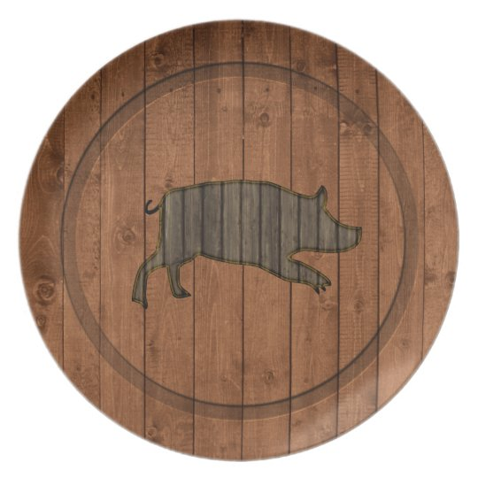 Wooden  Piggy Melamine Plate
