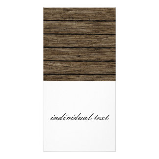 wooden planks customised photo card