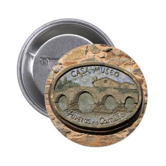 Wooden plaque Furelos Bridge, El Camino, Spain 6 Cm Round Badge
