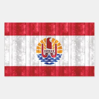 Wooden Polynesian Flag Rectangle Sticker
