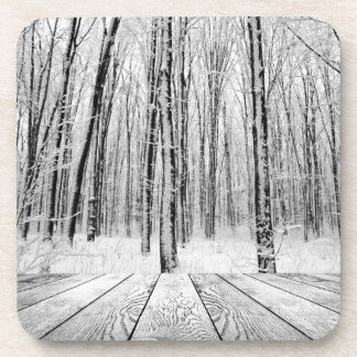 Wooden Porch and Snowy Forest Coasters