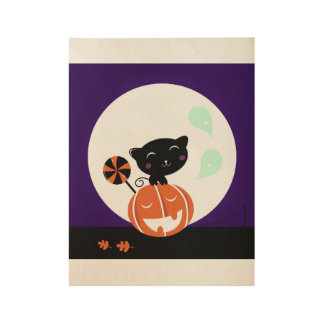 Wooden poster with Black cat