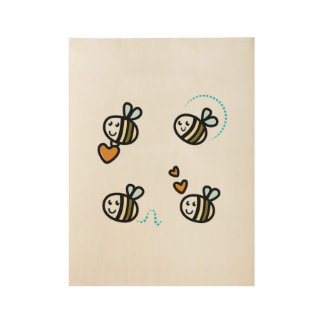 Wooden poster with little bees