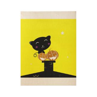 Wooden poster with Little kitten