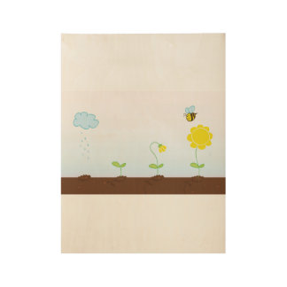 Wooden poster with little Sunflowers