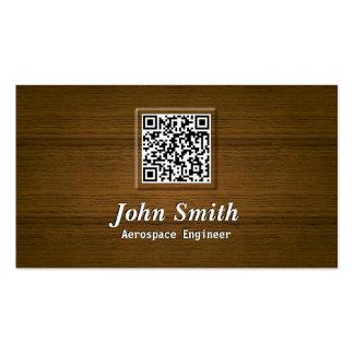 Wooden QR Code Aerospace Engineer Business Card