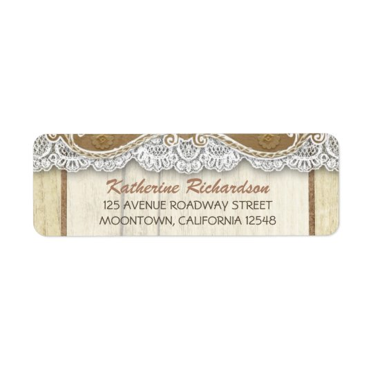 wooden return address labels with white lace