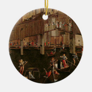 Wooden Rialto Bridge, from the Miracle of the Reli Round Ceramic Decoration