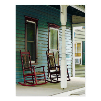 Wooden Rocking Chairs on Porch Postcard