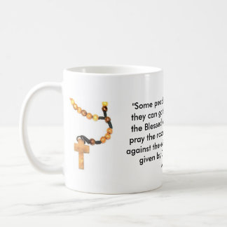 Wooden Rosary With St. Padre Pio Words Basic White Mug