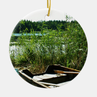 Wooden Rowing Boat Round Ceramic Decoration