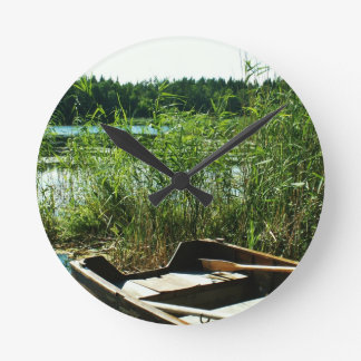 Wooden Rowing Boat Round Clock