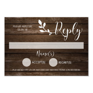 Wooden Rustic Reply Card