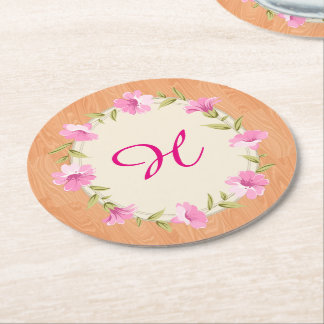 Wooden rustic vintage Floral Wreath Coasters Round Paper Coaster