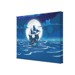 Wooden Sail ship voyage in the moonlight Gallery Wrap Canvas