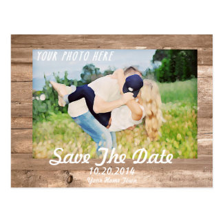Wooden Save the date White Postcard